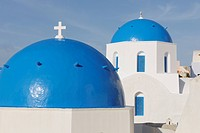 Greece, View of classical whitewashed church at Oia