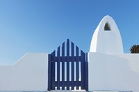 Greece, Traditionally Greek gate and chimney in oia village at Santorini