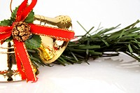 Christmas bells and wreath, close_up