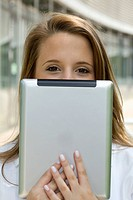 Europe, Germany, North Rhine Westphalia, Duesseldorf, Medical student with digital tablet, portrait