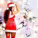 Sexy christmas girl with snow background
