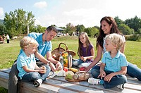 Family having picknick / pleasure trip, twins
