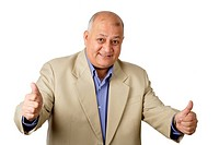 Portrait of an elderly man gesturing thumbs up