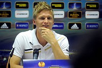 Vaclav Prochazka, soccer player of Viktoria Plzen, speaks during the press conference prior to European league soccer match against Academica Coimbra ...