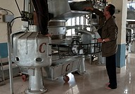 Interior of tea factory, Nepal tea is essentially identical to Darjeeling tea, Fikkal, Nepal, Asia