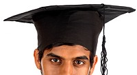 Partial view of young man wearing mortar board