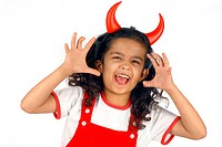 Girl wearing horns
