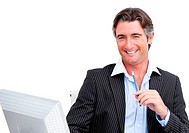 Mature businessman working on a computer