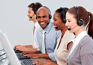 A diverse business group with headset on
