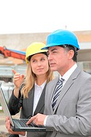 Business people on construction site