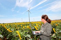 Agronomist in sunflowers field