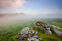 Mist hanging over the moorland near Haytor, Dartmoor National Park, Devon, England, United Kingdom, Europe