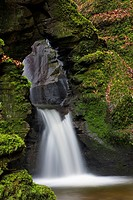 St. Nectan´s Kieve waterfall in St. Nectans Glen, near Tintagel, Cornwall, England, United Kingdom, Europe
