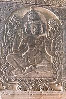 Sandstone relief figure, Nan Paya, Bagan Pagan, Myanmar Burma, Asia