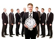 Business Manager with a clock