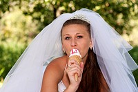 Bride with ice cream
