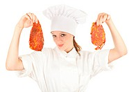 female chef with meat