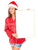 Santa girl with blank sign