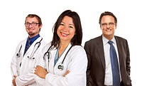 Group of Doctors or Nurses on a White Background