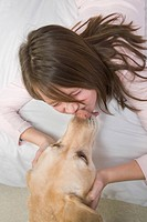 Preteen girl with her dog