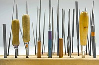 Close_up of tools in a row