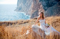 Bride at beautiful landscape