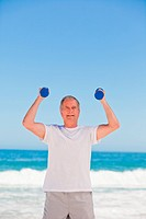 Elderly man doing his exercises