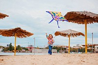 Child flying a kite