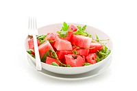 Watermelon and Arugula Salad Isolated