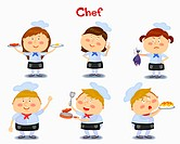 A illustration of chef in different position and emotions