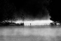black and white landscape of a small lake in the morning mist