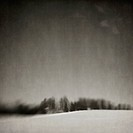 Pictorialist style of a snowy hill with trees, rocky mountain house alberta canada