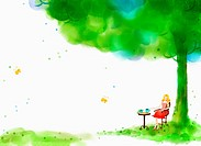 A illustration of a woman having a coffee under a tree