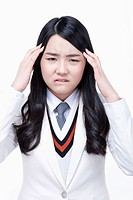 schoolgirl having a headache
