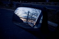 George Washington Bridge reflected in car mirror