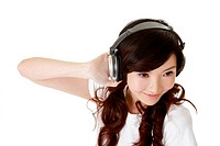 Asian woman listen music