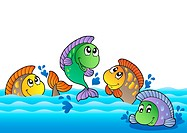 Cute freshwater fishes in river