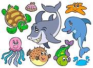 Happy sea animals collection