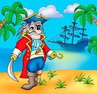 Old pirate on beach