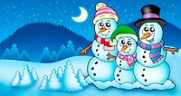 Winter landscape with snowman family