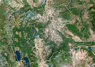 Macedonia, satellite image. North is at top. Natural colour satellite image showing Macedonia centre and the surrounding territories. Macedonia is loc...