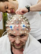 Mars_500 commander´s brain tests. Alexey Sitev Russia, the commander of the third stage of the Mars_500 project, having his brain tested. This project...