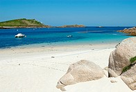 St. Martin´s Lower Town beach and quay, Isles of Scilly.