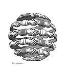 Global business. Conceptual artwork of a globe_shaped array of hands being shaken, representing concepts such as business networking, multinationals, ...