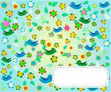 Seamless pattern with flowers and birds. Floral background