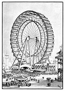 Chicago World Fair ferris wheel, 19th_century artwork. The World Fair of 1893 in Chicago, also known as the World´s Columbian Exposition, took place f...