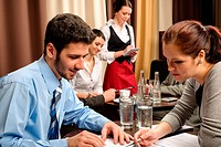 Business meeting people dealing at restaurant
