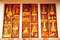 Ancient Golden carving wooden door
