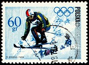 Ski jumper on post stamp