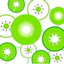 Kiwi slices vector background or pattern _ green &amp, white
